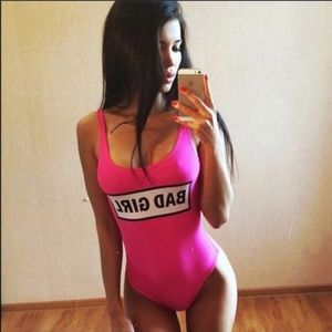 Bad Girl Hot Pink One Piece Swimsuit Bodysuit